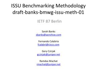 ISSU Benchmarking Methodology draft-banks-bmwg-issu-meth-01