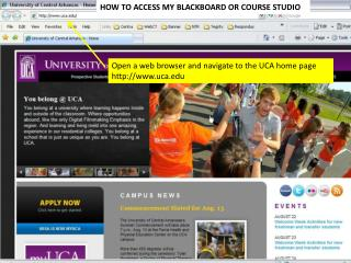 Open a web browser and navigate to the UCA home page uca