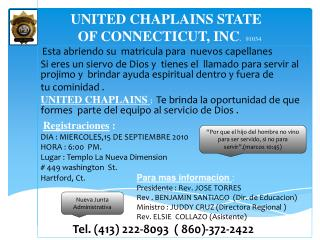 UNITED CHAPLAINS STATE OF CONNECTICUT, INC .   91034