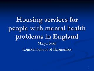 Housing services for people with mental health problems in England