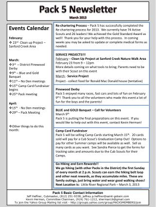 Events Calendar February:  23 rd   Clean up Project – Sanford Creek Area March: