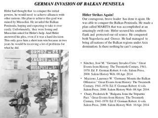 GERMAN INVASION OF BALKAN PENISULA
