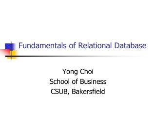 Fundamentals of Relational Database
