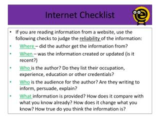 Internet Checklist