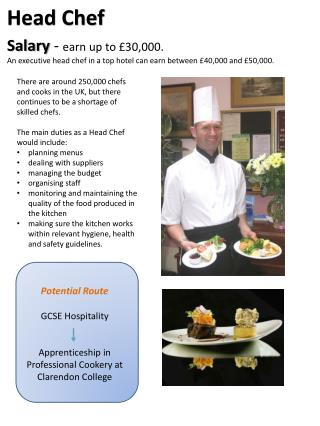 Potential Route GCSE Hospitality Apprenticeship in Professional Cookery at Clarendon College