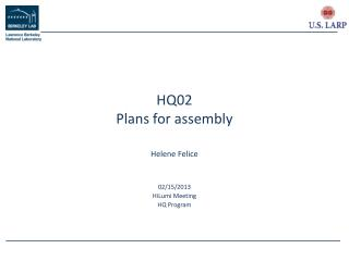 HQ02 Plans for assembly
