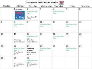 September 2014-CHEER  Calendar
