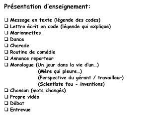 Présentation d'enseignement: Message en texte (légende des codes)