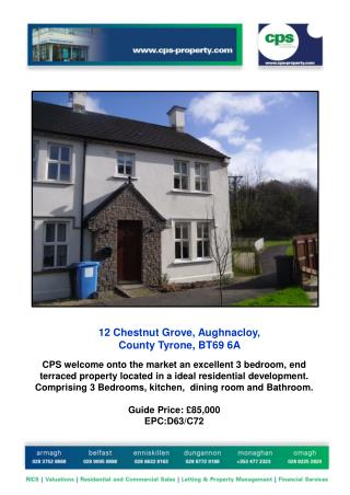12  Chestnut Grove, Aughnacloy,  County Tyrone, BT69 6A