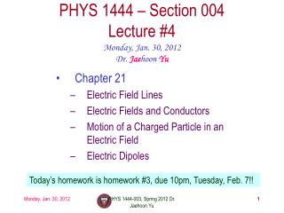 PHYS 1444 – Section  004 Lecture  #4