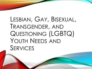 Lesbian, Gay, Bisexual, Transgender, and Questioning (LGBTQ) Youth Needs and Services