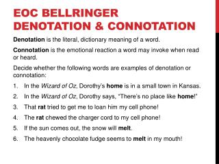 EOC BELLRINGER DENOTATION & CONNOTATION