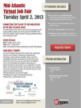 Mid-Atlantic  Virtual  Job Fair Tuesday April 2, 2013