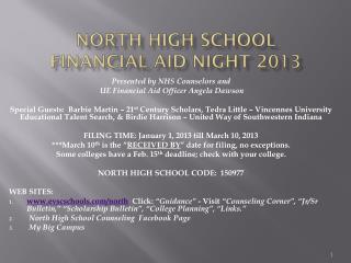 North High School  Financial Aid Night 2013