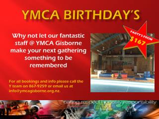 YMCA BIRTHDAY�s