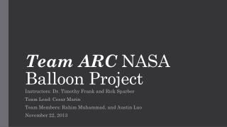 Team  ARC NASA Balloon Project
