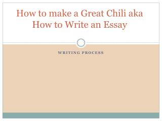How to make a Great Chili aka How to Write an Essay