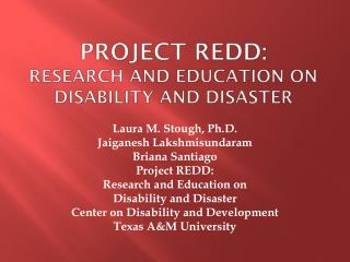 Project REDD: Research and Education on disability and disaster