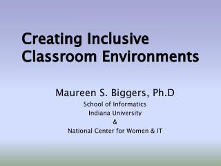 Creating Inclusive Classroom Environments