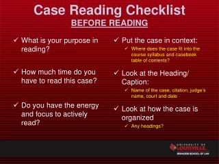 Case Reading Checklist BEFORE READING