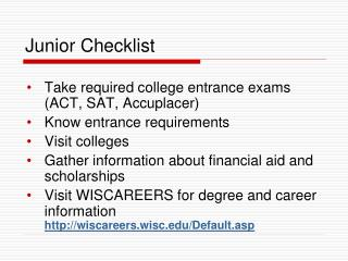 Junior Checklist