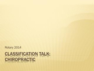 Classification  Talk: Chiropractic