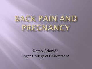 Back Pain and Pregnancy