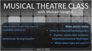 MUSICAL THEATRE CLASS