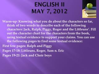 ENGLISH II MAY 7, 2012