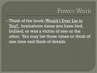 Power Work
