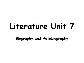 Literature Unit 7