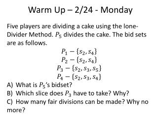 Warm Up – 2/24 - Monday