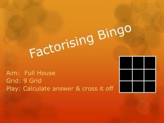 Factorising Bingo