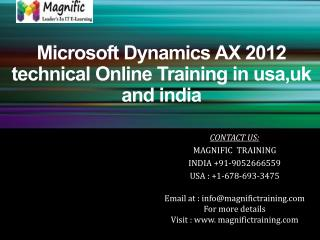 Microsoft Dynamics AX 2012 technical Online Training in usa,