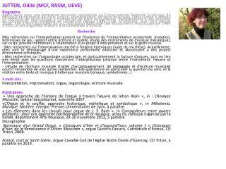 JUTTEN, Odile (MCF, RASM, UEVE) Biographie