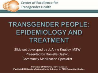 Transgender People: Epidemiology and treatment