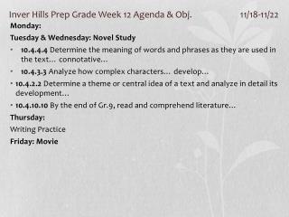 Inver Hills Prep Grade Week 12 Agenda & Obj. 11/18-11/22