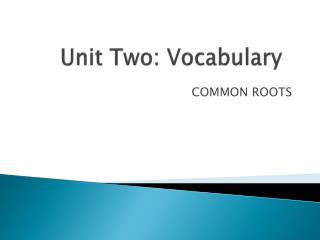 Unit Two: Vocabulary