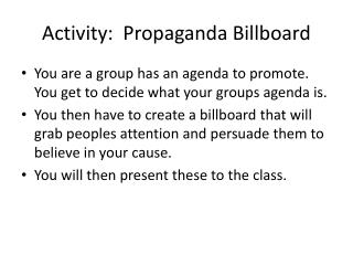 Activity:  Propaganda Billboard