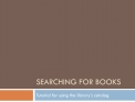 Searching for Books Tutorial