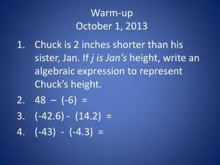Warm-up October  1, 2013