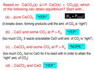 Based on   CaCO 3 (s)        CaO(s)  +  CO 2 (g), which