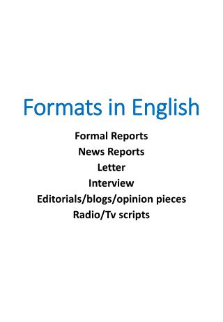 Formats in English