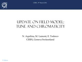 UPDATE ON FIELD MODEL:  TUNE AND CHROMATICITY