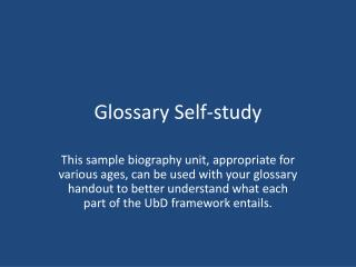 Glossary Self-study