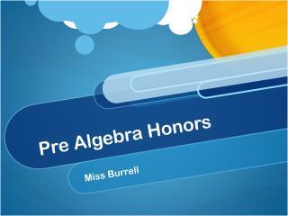 Pre Algebra Honors