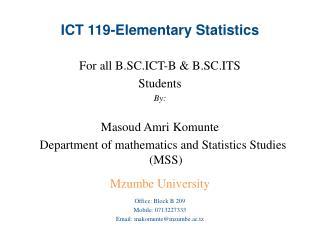 ICT 119-Elementary Statistics