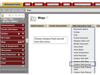 Choose Campus Pack  Journal  from the menu.