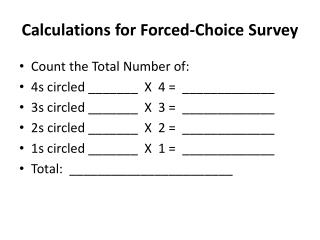 Calculations for Forced-Choice Survey