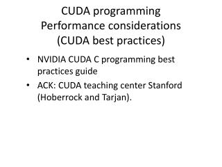 CUDA programming Performance considerations (CUDA best practices)